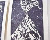 Vision Mountains Original Block Print -- 5x7