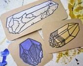 Quartz Crystal Trio - Original Block Prints