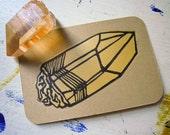 Tangerine Quartz Crystal Original Block Print