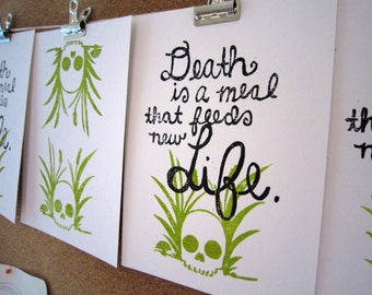 Death is a Meal -- Original Block Print