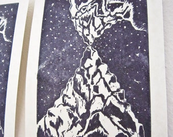 Vision Mountains Original Block Print -- 5x7