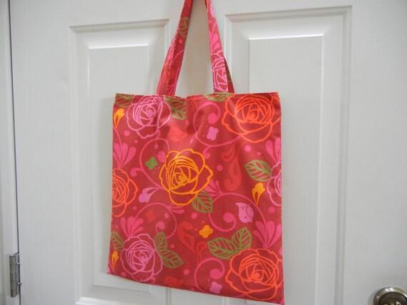 Tote Bag - Reversible Market Bag - Handmade Tote - Bold Pink and Fuschia Modern Flowers