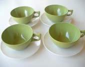 Vintage set of 4 Avacado and White Stetson Melmac Cup and Saucer