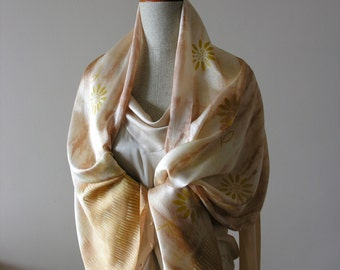 Hand painted and printed silk scarf- stole- desert flowers- beige- gold color.