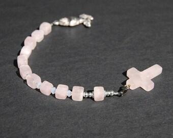 Rose Quartz Crystal Pocket Rosary