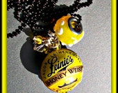 Bottle Cap Bead Necklace - Leinie's Honey Weiss - Hard To Find (11965)
