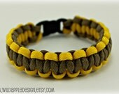 Paracord Bracelet 550 - Khaki and Yellow Ribbon