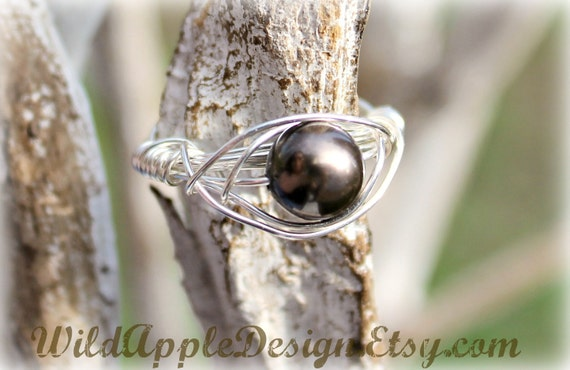 Deep Brown Swarovski Pearl Wire-Wrapped Ring - Size 8