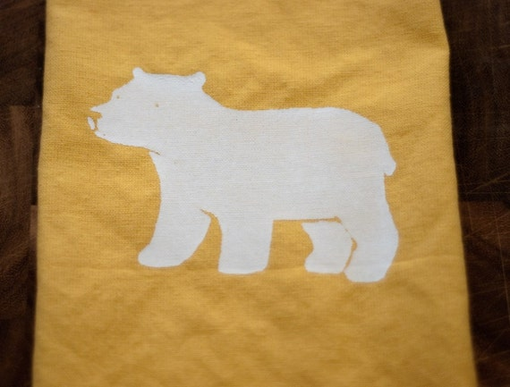 pair of organic napkins - polar bear print on saffron
