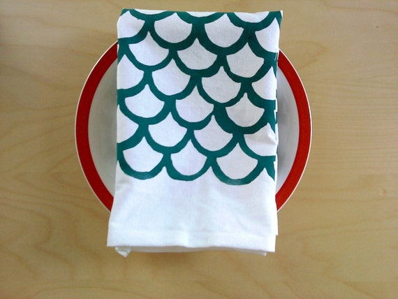 pair of organic napkins - large mermaid print in teal OOAK
