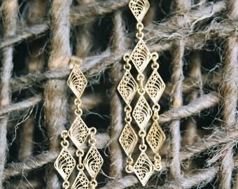 22K Gold Plated Filigree Diamond Shaped Post Earrings