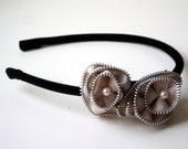 zipper rosette headband (in black and taupe)