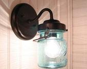 Vintage BLUE Canning Jar SCONCE Reserved for Penny