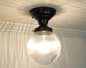 Cary's Mill. Clear Holophane CEILING LIGHT with Semi Flush Mount