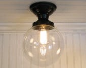 Biddeford I. Large Clear SEMI FLUSH Ceiling Light