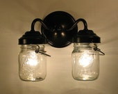 Vintage CLEAR Canning Jar DOUBLE Sconce