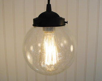 Vintage Pendant Lighting of Seeded Glass