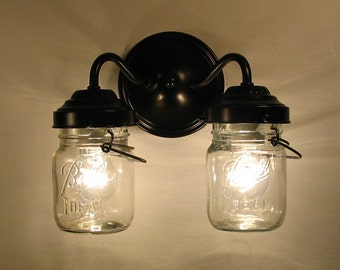 Lighting Canning Jar DOUBLE Sconce by LampGoods