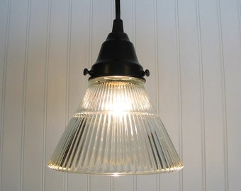 Glass PENDANT Lighting  Holophane Cone Glass - Industrial Light Fixture Ceiling Chandelier Farmhouse Kitchen Island by Lamp Goods
