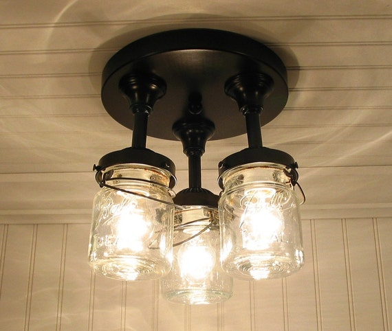 Vintage Canning Jar Ceiling Light Created New