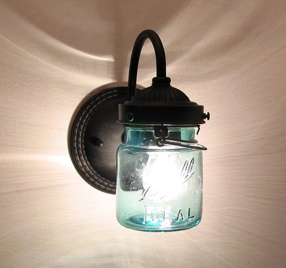 Vintage Blue EXTERIOR Canning Jar SCONCE Created New