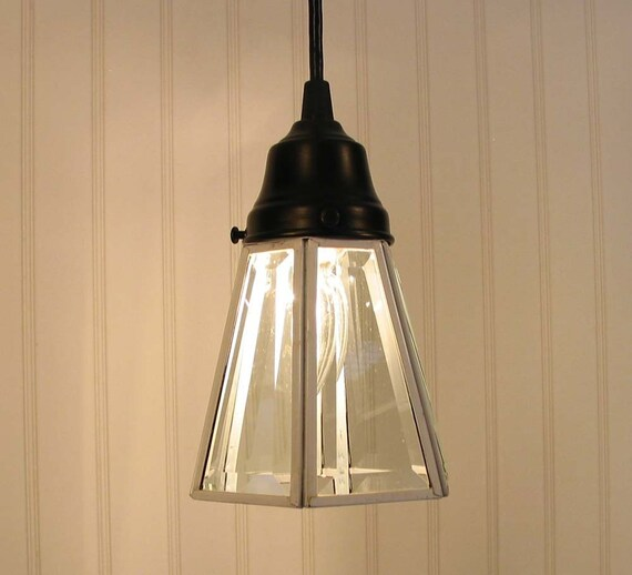 Brownville. Clear Beveled Glass Shade PENDANT Created NEW