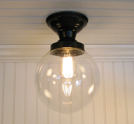 Biddeford I. Large Clear SEMI FLUSH Ceiling Light