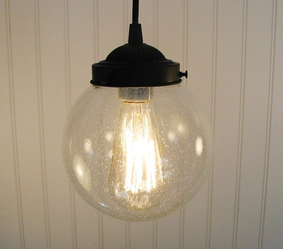 Pendant Lighting of Vintage Inspired Seeded Glass Clear Fixture for Chandelier Ceiling Lights by LampGoods