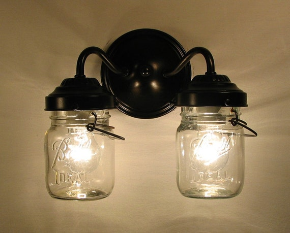 Canning jar double sconce lighting by lampgoods on etsy - Mason jar bathroom light fixture ...