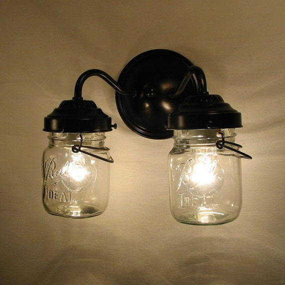 Lighting Canning Jar DOUBLE Sconce Wall Flush Mount By