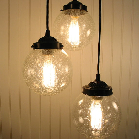 Glass Pendant CHANDELIER Light Seeded Glass Trio Flush Mount