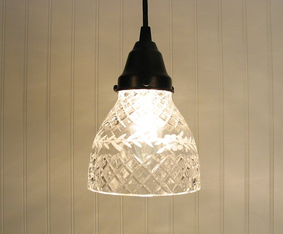 Stockton Springs I.  Vintage Etched & Cut Glass PENDANT Light
