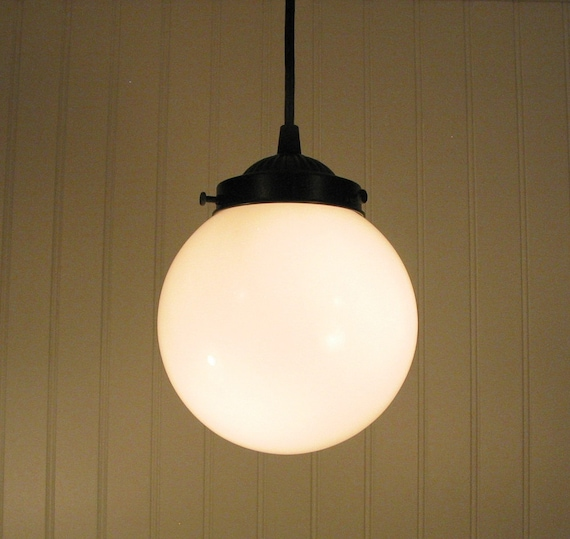 Winterport II. Milk Glass PENDANT Light Fixture Ceiling