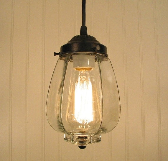 Westbrook III. Clear Mixed Media PENDANT Light with Edison Bulb
