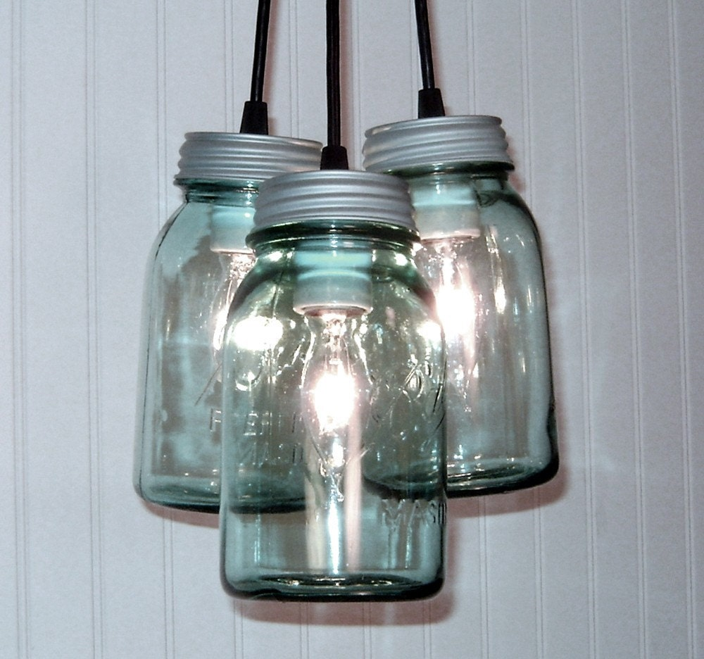 Vintage BLUE Canning Jar CHANDELIER Created NEW
