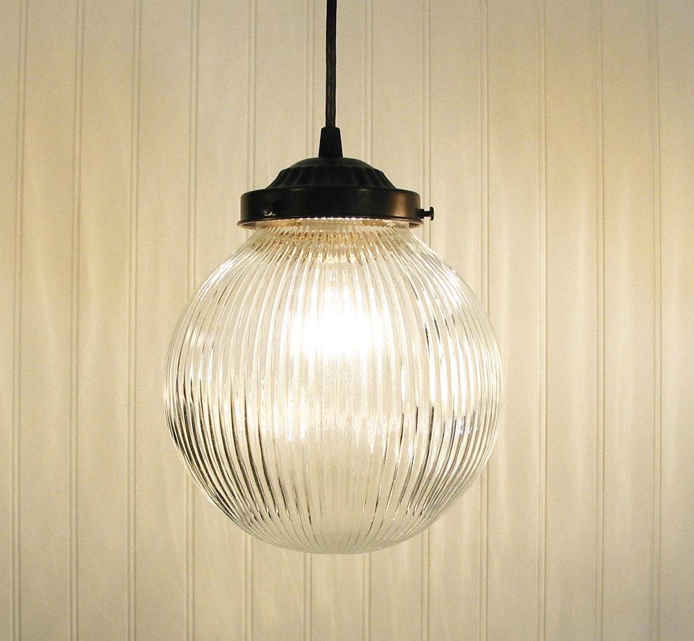 LARGE PENDANT Light Clear Holophane Globe Chandelier Flush