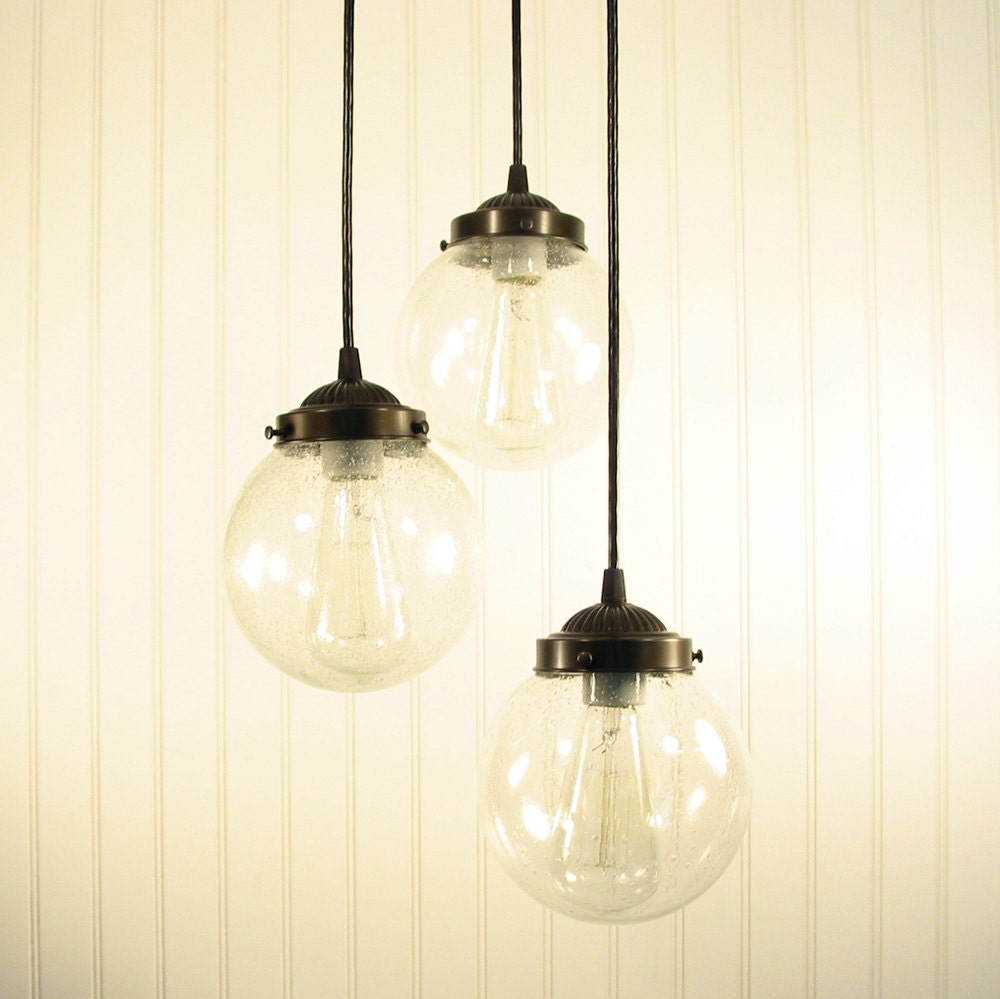 Glass Pendant CHANDELIER Light Seeded Glass Trio By LampGoods