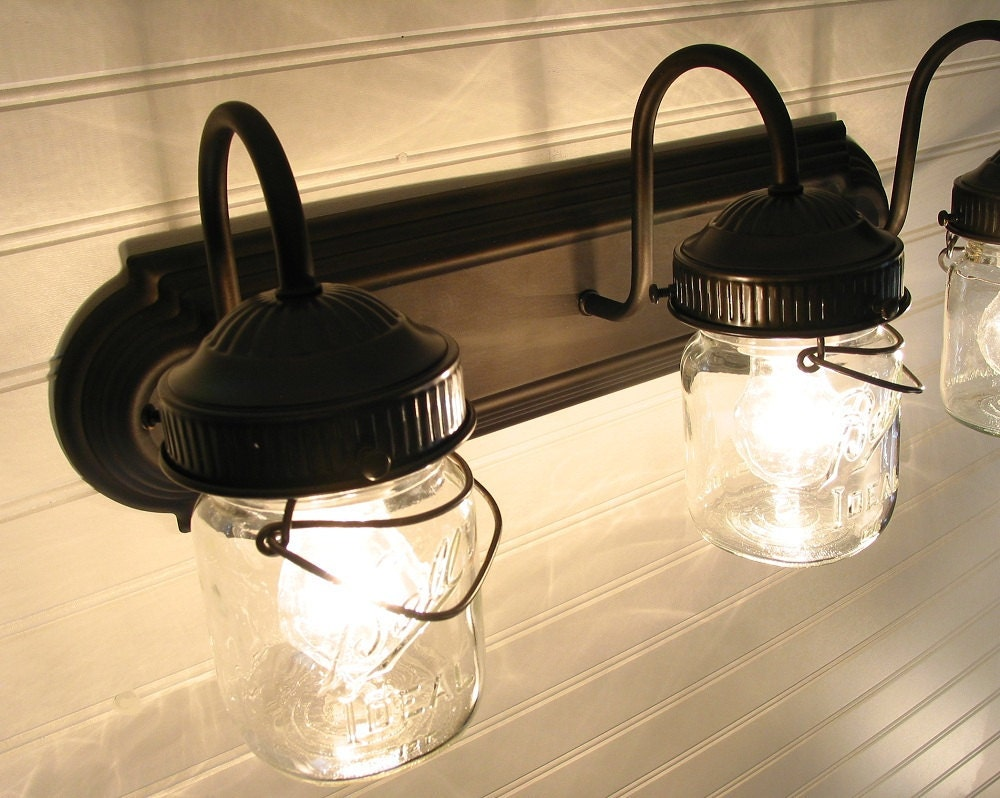 Vintage CLEAR Canning Jar TRIPLE Vanity Sconce