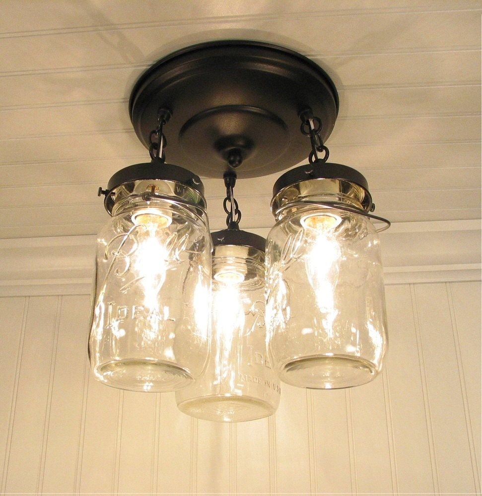 Diy Kitchen Light Fixtures Part 2: Mason Jar LIGHT FIXTURE Trio Of Vintage Quarts By LampGoods