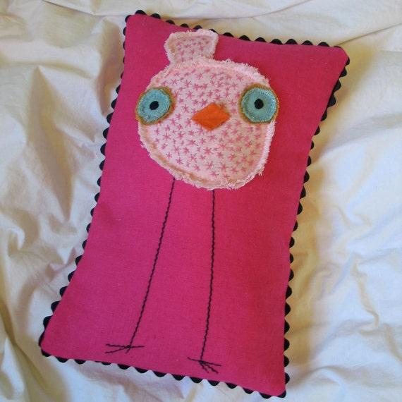 Pink on Pink Long Legged Embroidered Linen Bird Pillow