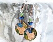 Reserved Listing - Map of Tasmania - Copper Dangle Earrings - Blue and Green Accents