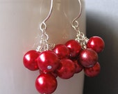 Holly Red Glass Pearl Cluster Earrings - One of a Kind