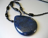 Black and Blue / Natural Stone and Dark Blue Pearls Necklace - One of a Kind