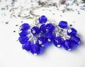 Blue Earrings - Bright Blue Dangle Cluster Sterling Silver Czech Glass Earrings