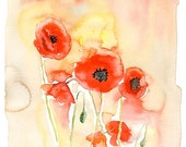 Poppies Print from my original watercolor painting 8x10 inch