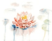 Waterlily Print  from my original watercolor painting 10x8 inch