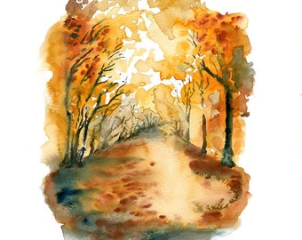 Autumn Forest-Landscape painting-Watercolor-Orange autumnal forest-Archival Large  Print from my original watercolor painting 11x14 inch