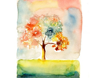 Happy day-Landscape painting-Watercolor-Archival Print from my original watercolor painting 10x8 inch