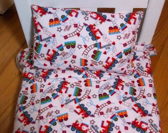 Doll Sheet Pillow Set, Train Bedding for Stuffed Animals or Dolls,Choo Choo,Doll Accessories, Doll ,Toys, Trains, Doll Linens, Toys & Games