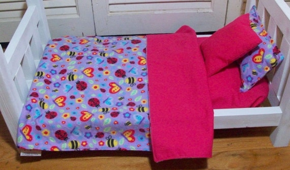 Doll Bedding,American Girl Doll Sheet and Pillow Set featuring Bees, Butterflies and Ladybugs, Doll Blanket, Doll Pillow